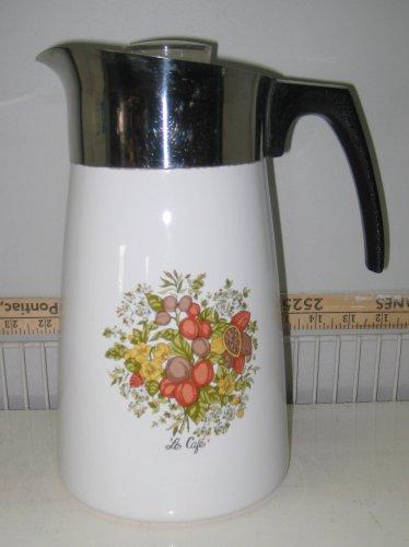 Corning Ware P-149 La Café Pattern Coffee Tea Pot Stovetop Non Electric Percolator