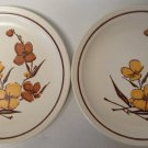 """2 Homer Laughlin Chop Plates HLC188 1977 12.5"""" Yellow,Brown Flower, Brown Band"""