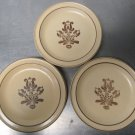 "3 Vintage Pfaltzgraff Village Brown Tan 7"" Bread Salad Side Plates Stoneware"