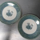 2 VINTAGE ROYAL CHINA CURRIER AND IVES  SAUCERS Steamboat USA