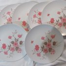 "Vtg Melamine Melmac LenoxWare Pink/Brown Foliage 9.5"" Dinner Plates 7 Total"