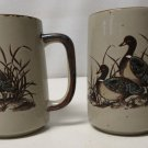 Otagiri MALLARD DUCKS in Grass / Flight Set of 2 Embossed Coffee Mugs
