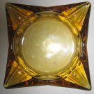 Vintage Amber Glass Ashtray Square - Heavy- Cigarettes and Cigar Very Good