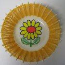 Vintage 60's Plastic Woven Basket -Mod Kitsch Basket - Retro Flower