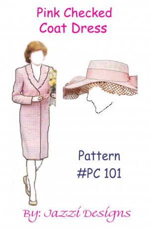 Pink Checked Coat dress and hat
