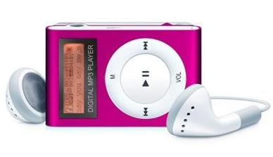 Pink 4GB MINI SHUFFLE II STYLE WITH BACKLIT DISPLAY AND VOICE RECORD!