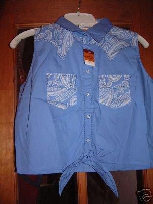 "NWT""s Wrangler Sleeveless Tie Front Shirt Pearl Snaps"