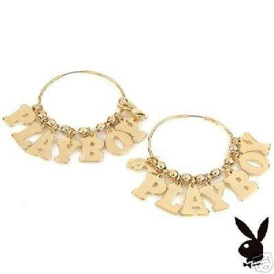 Playboy 14K StSI Plated Stainless CZ's Hoop Earrings