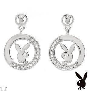 Playboy Earrings 925 Sterling CZ's NEW