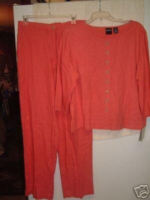 NWT's Erika 2 PC Linen Blend Shirt/Slacks sz M