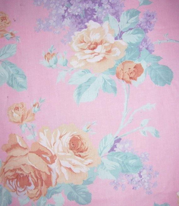 Home Decor Fabric - Yellow Roses on Soft Pink Background