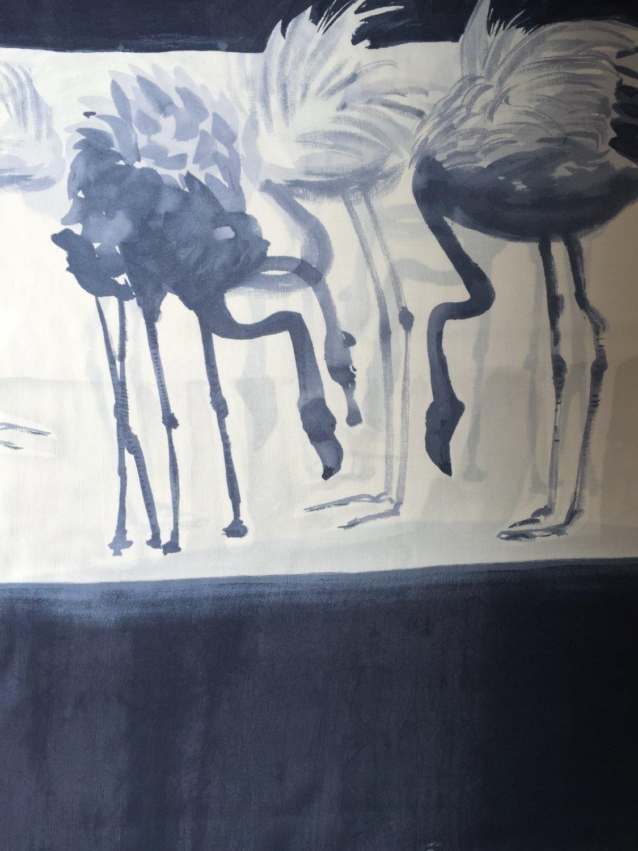 Rayon Fabric - Flamingo - Gray
