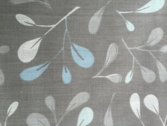 Cotton Fabric - Leaves Prints on Gray Background