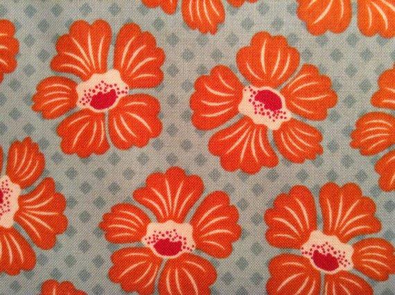 Cotton Fabric - Denise Urban by Suzanne Cruise - Orange Flowers