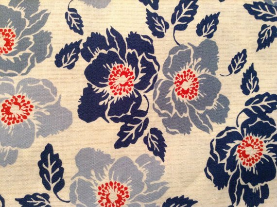 Cotton Fabric - Bethany Shackelford - Nantucket by Suzanne Cruise - Ecru Denin - Floral