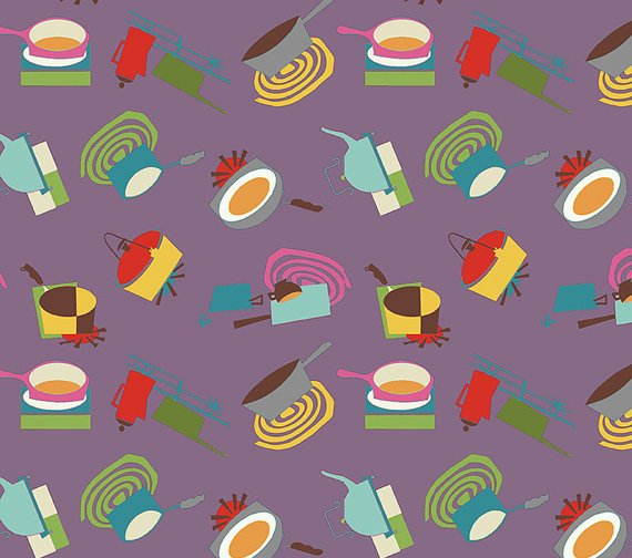 Cotton Fabric - Happy Days by Newcastle Studio - Kitchen Utensils designs