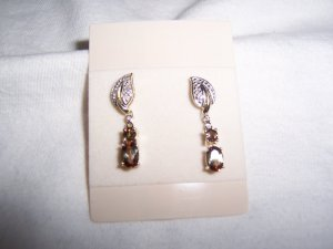 Diamond and brown stone earrings