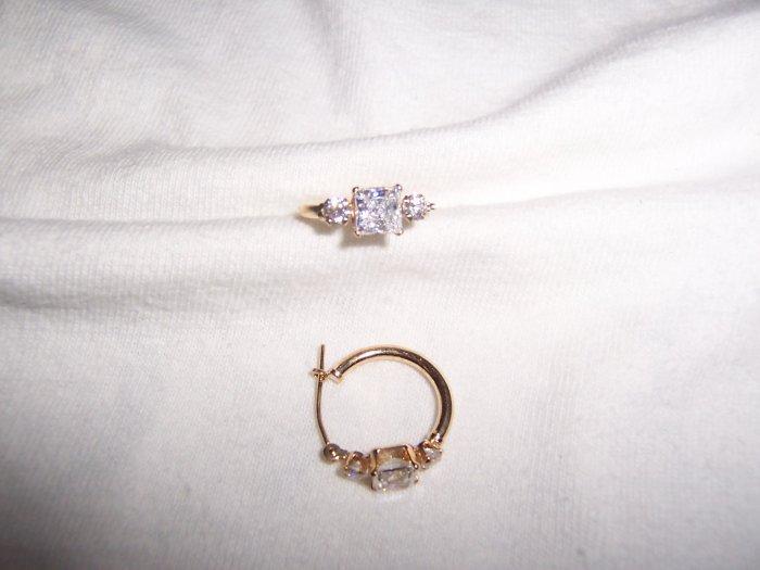 3 stone Cubic Zirconia hoop earrings