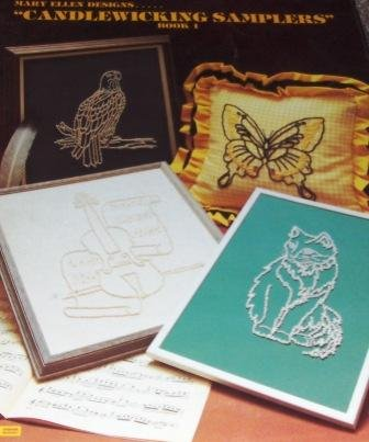 Candlewicking Embroidery Sampler Designs Book Butterfly Covered Wagon Violin Eagle Dutch Windmill