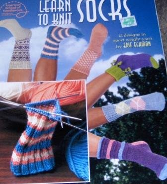 Learn to Knit Socks knitting Pattern 12 designs in sport weight yarn by Edie Eckman