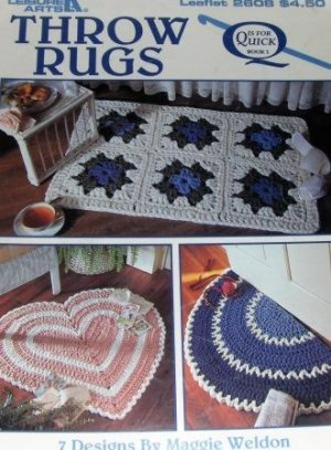 Leisure Arts Crochet Quick Throw Rugs, Crochet 7 Designs by Maggie Weldon, Leaflet 2608