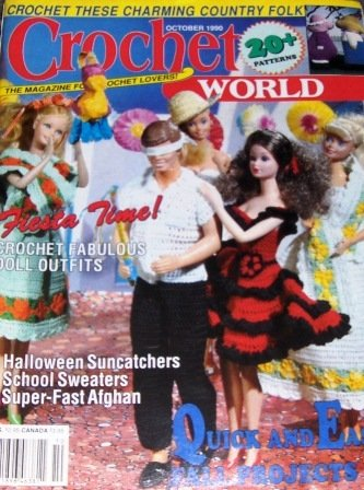 Crochet World Magazine October 1990 issue Fashion Doll clothes, afghans, school sweaters