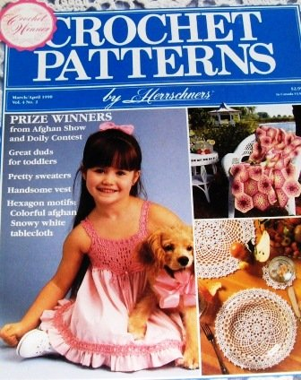 Herrschners Magazine Issue March 1990 Crochet Pattern Clothing for Toddlers, doilies, Afghans