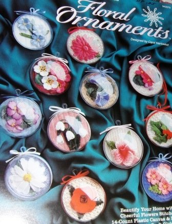 Plastic Canvas Pattern FLORAL ORNAMENTS, 12 Flowers Stitched on 14-Count PC in Plastic Craft Globes