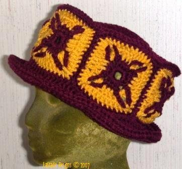 Granny Square Hat with brim PDF Crochet Pattern Looks great in College or High School Colors