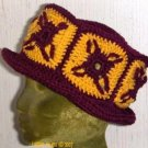 PDF Crochet Pattern Granny Square Hat with brim   Looks great in College or High School Colors