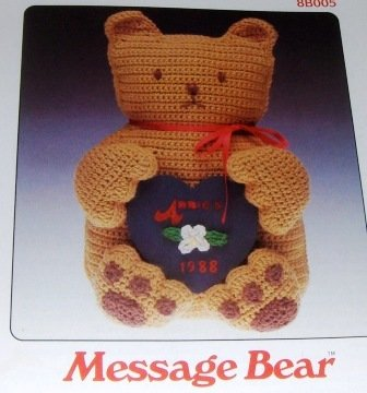 "Annie's Attic Pattern 13"" Teddy Bear crochet pattern with message heart, gift idea"