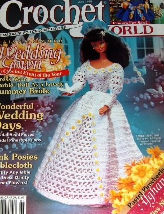 Crochet World June 1998 Crochet Patterns afghans, tablecloth, wedding gown for Barbie, doily
