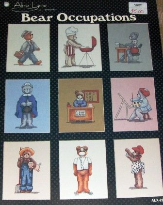 Cross Stitch Pattern Bear Occupations Policeman Teacher Farmer Artist Secretary Navy Man, Army Man