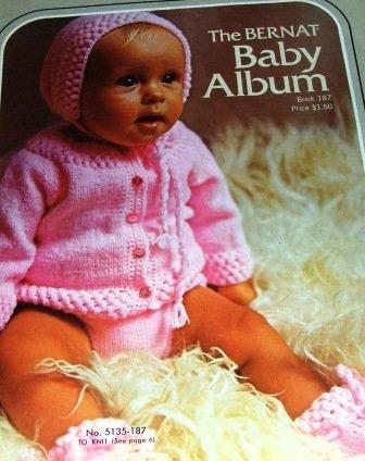 Knitting Crochet Pattern for infants babies Bernat Baby Album Booties