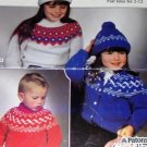 Fair Isles Sweater, hat, mittens for Child Toddler size 2 to 12 Knitting Pattern Patons