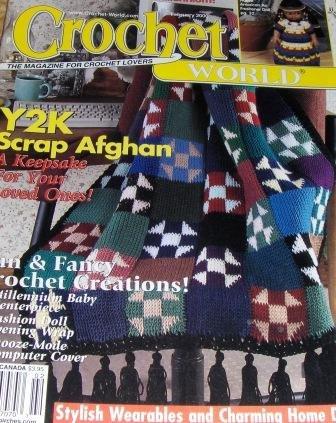 Crochet World Feb. 2000 Crochet Patterns Scrap Afghan, Native American Air Freshener Doll