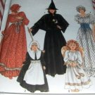 Witch, Prairie Girl, Pilgrim girl, Angel costumes Simplicity 9982 child size 2-12