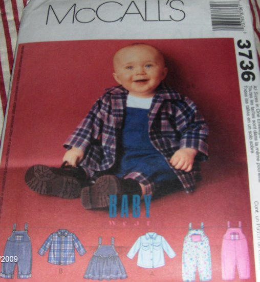 Infants Shirts,Jumper Overalls with snap crotch  Small Medium large X-large Size McCall's 3736