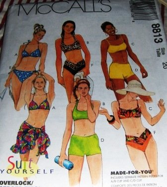 Bikini Shorts String Bikini Wrap Swim Suit McCall's 8813 Size 18 Suit Yourself Sewing Pattern
