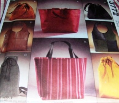 Bag Purse Drawstring  Pattern McCall's Fashion Accessories Sewing Pattern 3772 UNCUT