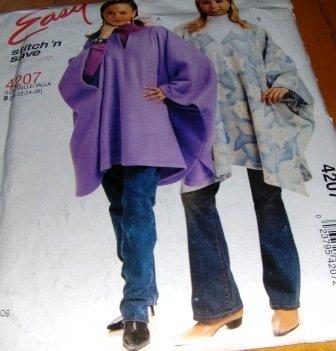 Polar Fleece Poncho Sewing Pattern EASY McCall's 4207 Size 20-26 XL - XXL Uncut