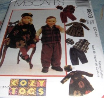 Toddlers Polar fleece dress, vest, pull-on pants and hats  McCall's Sewing Pattern 9603 size 2,3,4