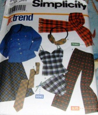 Teen Camisole Panties Skirt Pants Scarf Shirt ear muffs sewing pattern Simplicity 9841 3/4 - 9/10