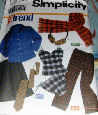 Teen Camisole Panties Skirt Pants Scarf Shirt ear muffs sewing pattern Simplicity 9841 11/12-15/16