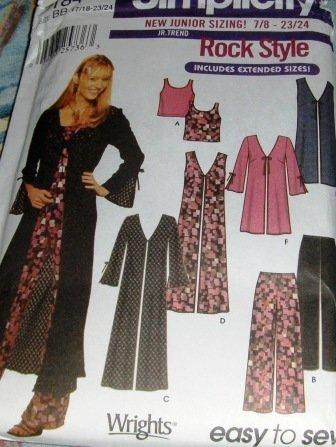 Teen Rock Style Vest Coat Pants Top Simplicity 7184 Sizes 17/18 to 23/24