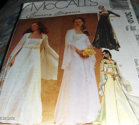 Bridal Gown and bridesmaid gown with flowing sleeves Gothic McCall's 3010 Size 18, 20,22