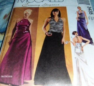 Prom Dress Halter Style Evening Gown Sewing Pattern McCall's 3435 Size 10-14