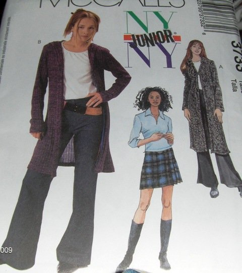 Junior Bell Bottom Pants Sweatercoat Skirt Top McCall's 3733 Size 11/12 to 17/18  NYNY  uncut