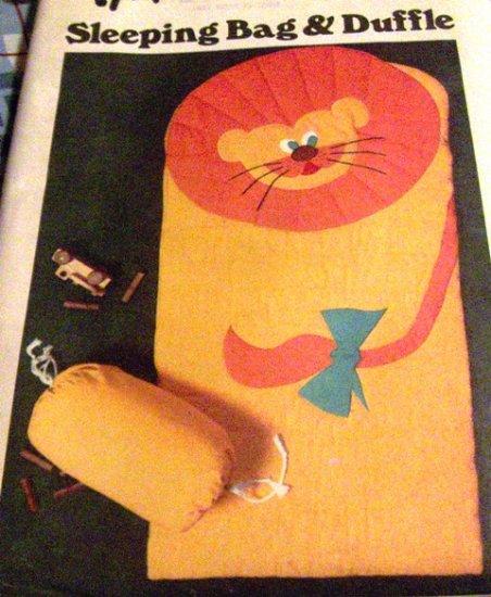 Lion Sleeping Bag Quilted Critter Applique Animal Coverlette Sleeping Bag Children Butterick 5161