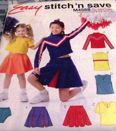 Child Toddler Cheerleading Uniform McCall's 4568 Sizes 7,8,10,12,14 Sewing Pattern Halloween Costume